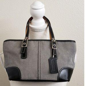 Coach Black/White Herringbone Mini Handbag